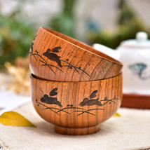 Japanese Style Natural Wooden Round Bowl : Soup Rice Noodles to Serve in - $12.00+