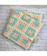 """Granny Square Afghan Crochet Long Throw Bed Coverlet 34"""" X 64"""" Peach Turquoise - $26.72"""