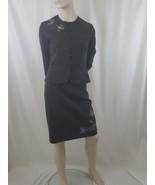 Women's Peplum Skirt Suit by Dressbarn 4, Gray w/White Embroidery Career - $31.68