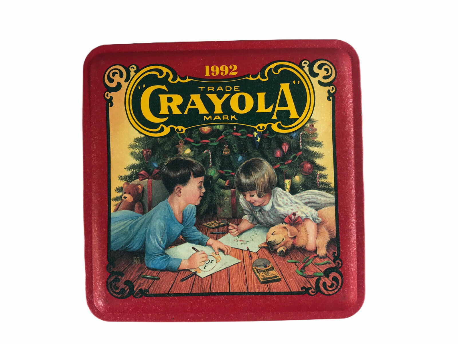 Vintage 1992 Crayola Christmas Tin Only. Featuring Children Playing and Toys - $8.90