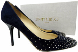 Jimmy Choo Microstudded Almond Toe Pumps Navy/ Silver  Heels Shoes 38.5 - $349.00
