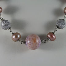 .925 SILVER RHODIUM NECKLACE WITH PINK PEARLS, PINK AGATE AND SILVER SPHERES image 3