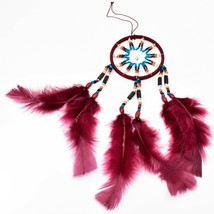 """Handcrafted Miniature 9"""" Maroon Red Dreamcatcher Plastic & Wood Beads Feathers  image 2"""