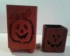 Wood Lantern Luminarias Pumpkin Face Halloween Fall Decoration New Old S... - £31.11 GBP