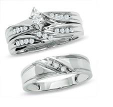 Mens & Ladies 925 Sterling Silver White Diamond Wedding Engagement Trio Ring set - $148.99