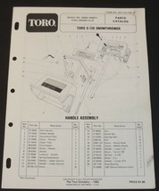 Toro S 120 Snowthrower Parts Catalog Manual Model 38000 Serial 0000001 a... - $12.99