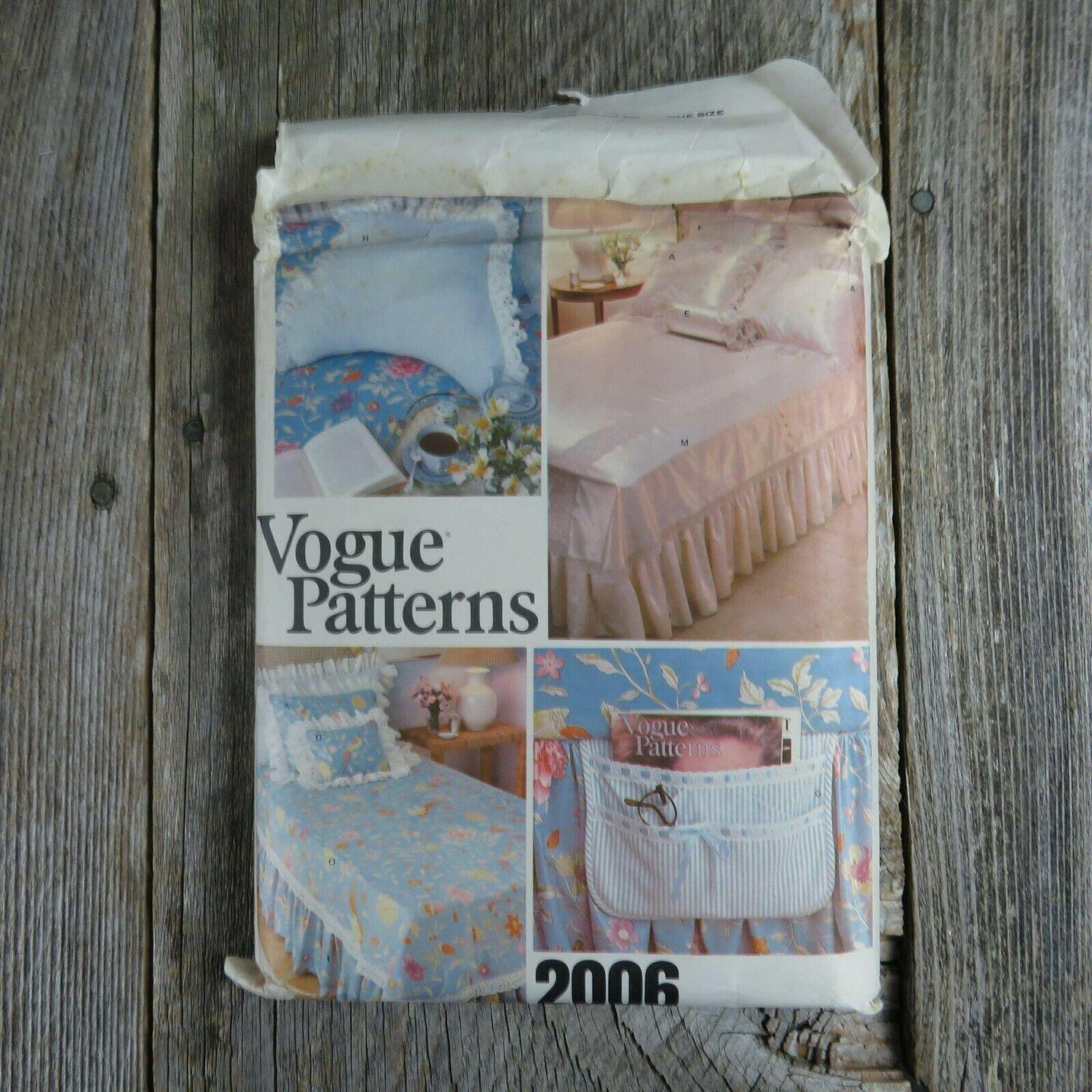 Vintage Vogue Bedspread Linen Sewing Pattern Bedroom Sham Pillow Bed Covers