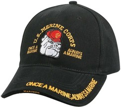 USMC Bulldog Hat Deluxe US Marine Corps Adjustable Cap Black - $19.99