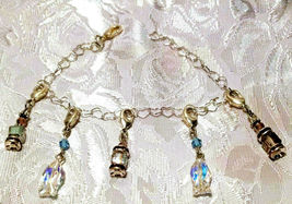 Silver Bracelet Metal Chain Crystal and Charm Dangles - You Choose image 11