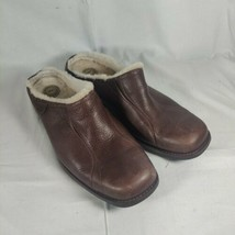 LADIES UGG AUSTRALIA  BROWN LEATHER BETTEY SHEEP LINED LOAFER MULE CLOG ... - $29.69