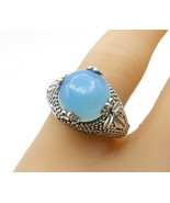 925 Sterling Silver - Cabochon Cut Blue Chalcedony Cocktail Ring Sz 7 - ... - $34.60