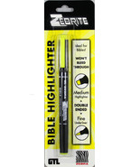 Zebrite Double Ended Highlighter Carded Yellow NEW Medium & Fine No Blee... - $7.76