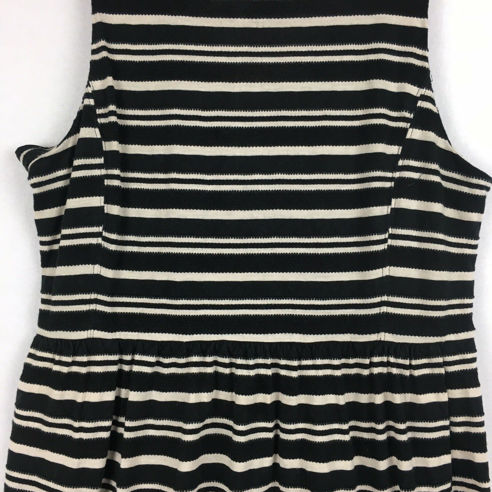 J.Crew Factory Sleeveless Scoopneck Black & Beige Striped Midi Dress Size XL  image 2