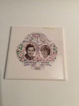 Vintage Trivet Ceramic Wall Tile Prince Charles Princess Diana Wedding 1981 - $10.45