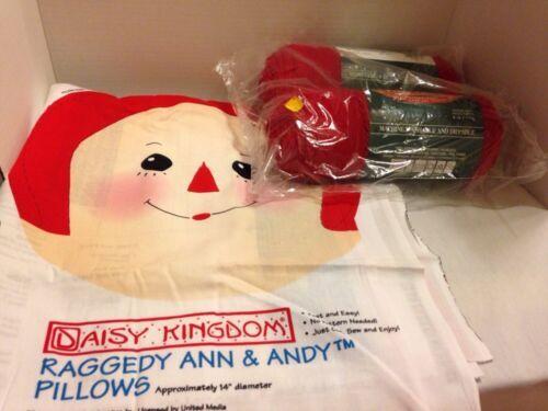 Daisy Kingdom Raggedy Ann & Andy Pillows Kit Panels With Bernat Red Yarn - $9.49