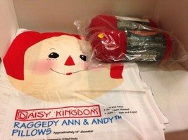 Daisy Kingdom Raggedy Ann & Andy Pillows Kit Panels With Bernat Red Yarn - $9.49