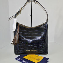 Dooney & Bourke Paige Sac Leather Croco Emb Hobo Blue image 8