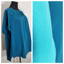 Lands End Blouse Top Womens 22W 2X Blue Gathered Neckline Lot of 2 Satin... - $21.28
