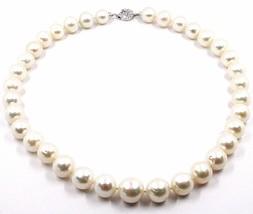 Halskette Weiß Gold 18K, Zirkonia Perlen Große 12 mm Weiss, Süßwasser - $1,147.43