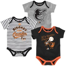 Baltimore Orioles Infant Home Run Bodysuit 3-Piece Set MLB Baby Baseball