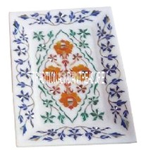 "9""x6"" Marble White Beautiful Tray Plate Lapis Hakik Gems Pietradure Art Decor - $117.62"
