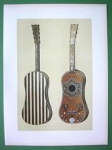 GUITAR Ivory Ornamented  Music Instrument - SUPERB Color Litho Print - $49.50