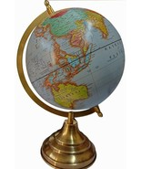 World Map Antique Globe Beautiful Table Decor Home Office Globe Blue 12.5 Inches - $31.77