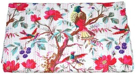 Handmade Queen Cotton Bedspread Kantha Bird Print Quilt Coverlet Throw I... - £41.50 GBP