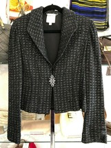 ST. JOHN Couture Black Evening Jacket with Silver Design Sz 10 $1295 - $311.26