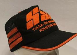 Vtg Mesh 3 Side Stripes Black Orange Snapback Trucker Hat Cap Bars USA T... - $74.79