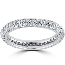 1 1/10ct Pave Diamond Eternity Ring 14K White Gold - $650.00