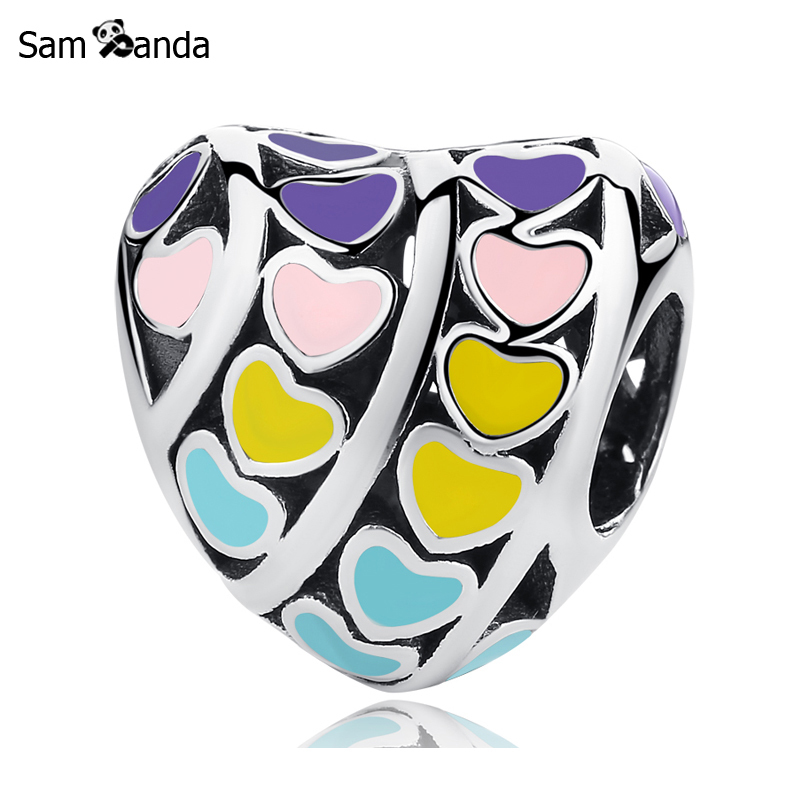 Primary image for Buy New Authentic 100% 925 Sterling Silver Charm Bead Multi colour Heart Love
