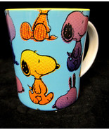Peanuts Snoopy Mug Dog Coffee Tea Cocoa Cup Container Blue Yellow Black - $19.95