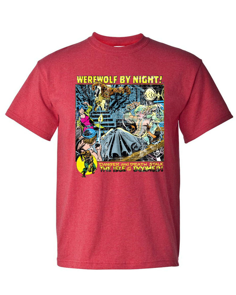 Werewolf by Night T Shirt Legion of Monsters Vintage 1970s Marvel Comics red tee