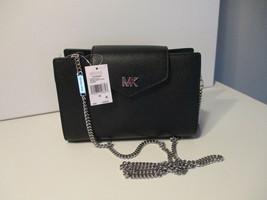 Michael Kors Medium  Convertible Crossbody Or Clutch Black Leather New W... - $118.79