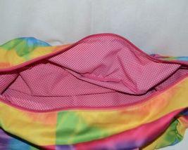 Molly N Me Brand 522B005 Rainbow Tie Dye Girls Duffle Bag With Flower Detail image 6