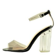 Qupid Kloude 09 Black Women's Ankle Strap Peep Toe Perspex Block Heel PVC - $37.95