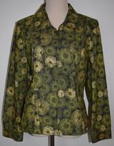 Christopher Banks XL Jacket Zip Front Green Floral Sunburst Glittery Blazer - $18.66