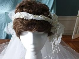 Vintage White 2 Layer Circle Wedding Veil W/Ornate HeadPiece & Tulle Crown NEW  - $37.99