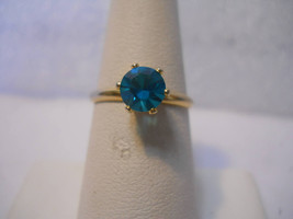 18 kt GP Blue Cubic Zirconia Solitary Ring Size 6.5 #FJW527 - $19.99