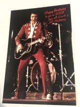 Elvis Presley Postcard Elvis In Concert Red Jumpsuit Happy Birthday - $3.46