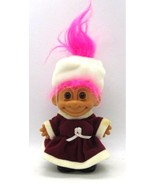 Russ Troll Holiday CHRISTMAS Lady in Red Velvet Dress White Hat Pink Hai... - $15.83