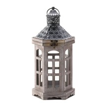 Candle Lantern Wood, Hanging Outdoor Lanterns For Candles - Pine Wood, Gray - $39.08