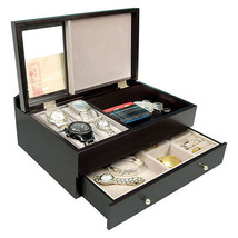 New Executive SAWYER Mens Black Wood Valet Storage Organizer Men's Jewel... - €71,55 EUR