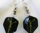 Handmade Sweeper Goth Skeleton Dart Flight Tip Game Earrings Pewter Skulls USA