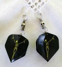 Handmade Sweeper Goth Skeleton Dart Flight Tip Game Earrings Pewter Skul... - $27.99