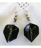 Handmade Sweeper Goth Skeleton Dart Flight Tip Game Earrings Pewter Skul... - $24.99