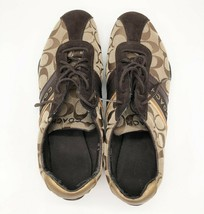 Coach Jayme Signature Tennis Shoes Brown Gold Metallic Women's Size 10M Q582 - $39.59
