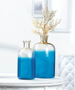 "BLUE BOTTLE VASE SET 9"" & 10"" TALL - $39.95"