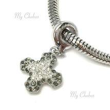Swarovski European Hang Bracelet Charm Stainless Steel BeCharmed Pave Crystal image 11